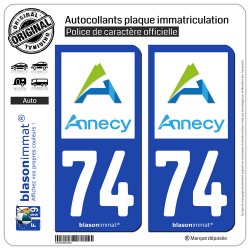 2 Autocollants plaque immatriculation Auto 74 Annecy - Agglo