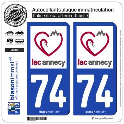 2 Autocollants plaque immatriculation Auto 74 Annecy - Tourisme