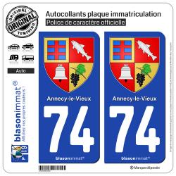 2 Autocollants plaque immatriculation Auto 74 Annecy-le-Vieux - Armoiries