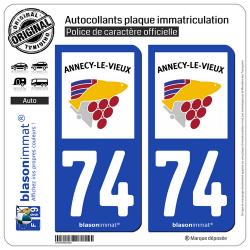 2 Autocollants plaque immatriculation Auto 74 Annecy-le-Vieux - Ville