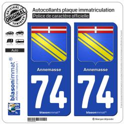2 Autocollants plaque immatriculation Auto 74 Annemasse - Armoiries