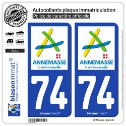 2 Autocollants plaque immatriculation Auto 74 Annemasse - Ville