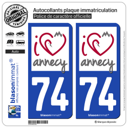 2 Autocollants plaque immatriculation Auto 74 Annecy - I'm