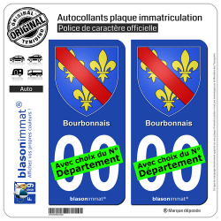 2 Autocollants plaque immatriculation Auto Bourbonnais - Armoiries