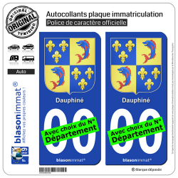 2 Autocollants plaque immatriculation Auto Dauphiné - Armoiries III