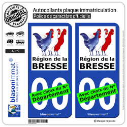 2 Autocollants plaque immatriculation Auto Pays de la Bresse - Région
