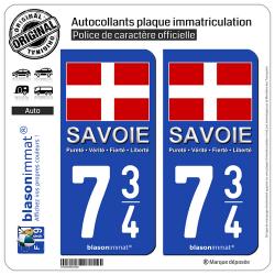 2 Autocollants plaque immatriculation Auto 734 Savoie - Drapeau