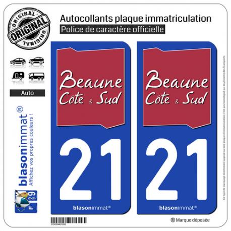 2 Autocollants plaque immatriculation Auto 21 Beaune - Agglo