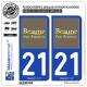 2 Autocollants plaque immatriculation Auto 21 Beaune - Pays