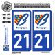 2 Autocollants plaque immatriculation Auto 21 Bourgogne - LogoType