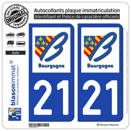 2 Autocollants plaque immatriculation Auto 21 Bourgogne - LogoType