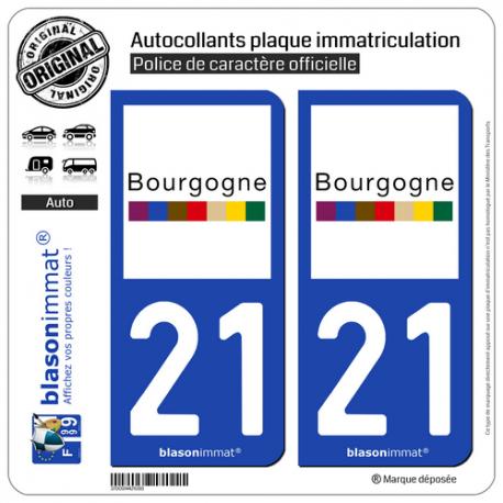 2 Autocollants plaque immatriculation Auto 21 Bourgogne - Tourisme