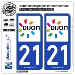 2 Autocollants plaque immatriculation Auto 21 Dijon - Agglo