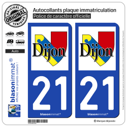 2 Autocollants plaque immatriculation Auto 21 Dijon - Ville