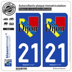 2 Autocollants plaque immatriculation Auto 21 Dijon - Ville II