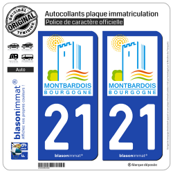 2 Autocollants plaque immatriculation Auto 21 Montbard - Tourisme