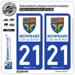 2 Autocollants plaque immatriculation Auto 21 Montbard - Ville