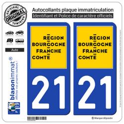 2 Autocollants immatriculation Auto 21 Bourgogne-Franche-Comté - LogoType