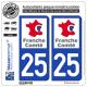 2 Autocollants plaque immatriculation Auto 25 Franche-Comté - LogoType
