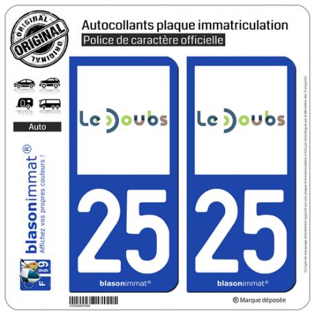 2 Autocollants plaque immatriculation Auto 25 Doubs - Département