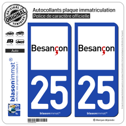 2 Autocollants plaque immatriculation Auto 25 Besançon - Ville