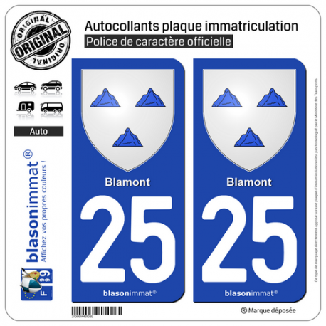 2 Autocollants plaque immatriculation Auto 25 Blamont - Armoiries