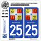 2 Autocollants plaque immatriculation Auto 25 Montbéliard - Armoiries