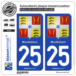 2 Autocollants plaque immatriculation Auto 25 Montbéliard - Armoiries