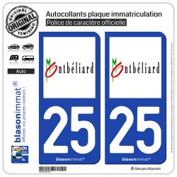 2 Autocollants plaque immatriculation Auto 25 Montbéliard - Ville