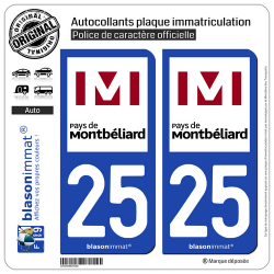 2 Autocollants plaque immatriculation Auto 25 Montbéliard - Agglo
