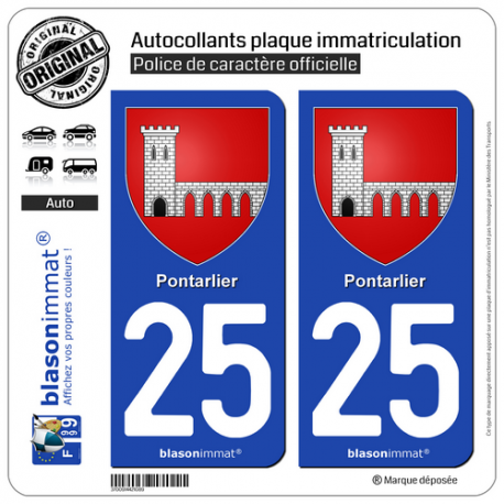 2 Autocollants plaque immatriculation Auto 25 Pontarlier - Armoiries