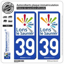 2 Autocollants plaque immatriculation Auto 39 Lons-le-Saunier - Agglo