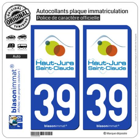 2 Autocollants plaque immatriculation Auto 39 Saint-Claude - Tourisme