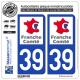 2 Autocollants plaque immatriculation Auto 39 Franche-Comté - LogoType