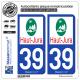 2 Autocollants plaque immatriculation Auto 39 Haut-Jura - Pays