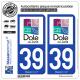 2 Autocollants plaque immatriculation Auto 39 Dole - Ville
