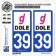 2 Autocollants plaque immatriculation Auto 39 Dole - Agglo