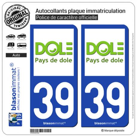 2 Autocollants plaque immatriculation Auto 39 Dole - Tourisme