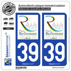 2 Autocollants plaque immatriculation Auto 39 Revermont - Jura Pays