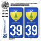 2 Autocollants plaque immatriculation Auto 39 Saint-Claude - Armoiries