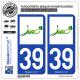 2 Autocollants plaque immatriculation Auto 39 Jura - Vignoble