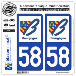 2 Autocollants plaque immatriculation Auto 58 Bourgogne - LogoType