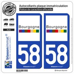 2 Autocollants plaque immatriculation Auto 58 Bourgogne - Tourisme