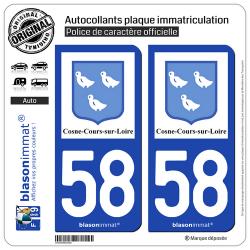 2 Autocollants plaque immatriculation Auto 58 Cosne-Cours-sur-Loire - Ville