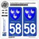 2 Autocollants plaque immatriculation Auto 58 Cosne-sur-Loire - Armoiries
