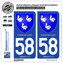 2 Autocollants plaque immatriculation Auto 58 Cosne-sur-Loire - Armoiries
