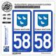 2 Autocollants plaque immatriculation Auto 58 Cosne-sur-Loire - Tourisme