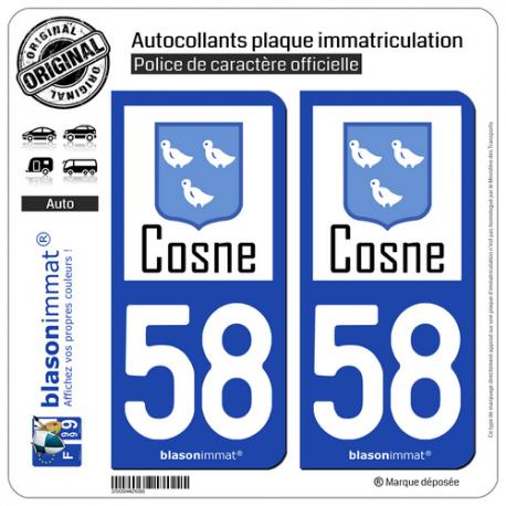 2 Autocollants plaque immatriculation Auto auto 58 Cosne-sur-Loire - Ville