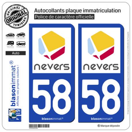 2 Autocollants plaque immatriculation Auto 58 Nevers - Agglo