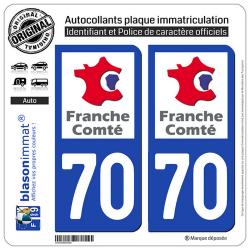 2 Autocollants plaque immatriculation Auto 70 Franche-Comté - LogoType